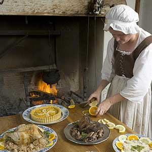An array of foods in the Palace kitchen.